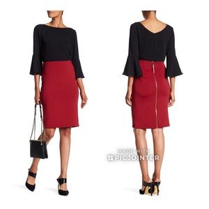 Catherine Malandrino Exposed Zipper Skirt 8 Brick